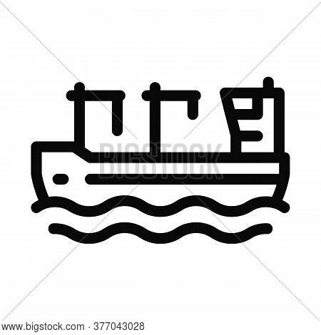 Crane On Boat Icon Vector. Crane On Boat Sign. Isolated Contour Symbol Illustration