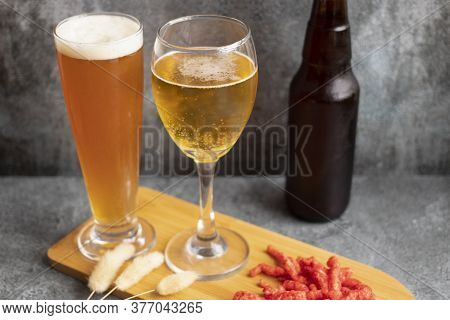 View Of Beer Served In Two Glasses
