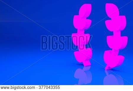 Pink Laurel Wreath Icon Isolated On Blue Background. Triumph Symbol. Minimalism Concept. 3d Illustra