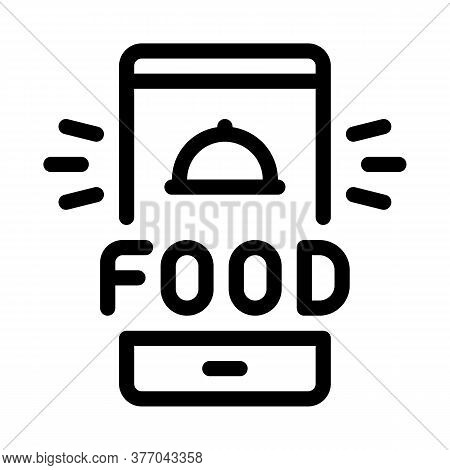Food Delivery Phone Alarm Icon Vector. Food Delivery Phone Alarm Sign. Isolated Contour Symbol Illus