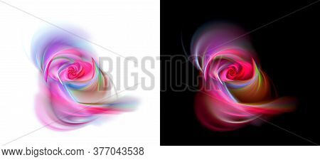 Beautiful Roses With Blur On White And Black Backgrounds. Stylization Of Watercolor Drawing. Set Of