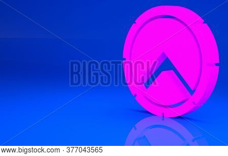 Pink Greek Shield With Greek Ornament Icon Isolated On Blue Background. Minimalism Concept. 3d Illus