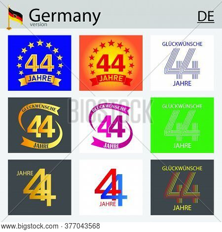 German Set Of Number Forty-four Years (44 Years) Celebration Design. Anniversary Vector Number Templ