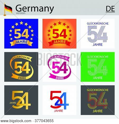 German Set Of Number Fifty-four Years (54 Years) Celebration Design. Anniversary Vector Number Templ