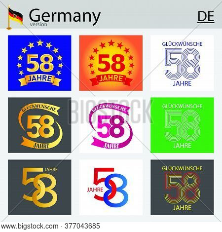 German Set Of Number Fifty-eight Years (58 Years) Celebration Design. Anniversary Vector Number Temp