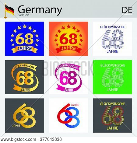 German Set Of Number Sixty-eight Years (68 Years) Celebration Design. Anniversary Vector Number Temp