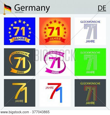 German Set Of Number Seventy-one Years (71 Years) Celebration Design. Anniversary Vector Number Temp