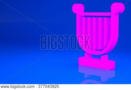 Pink Ancient Greek Lyre Icon Isolated On Blue Background. Classical Music Instrument, Orhestra Strin