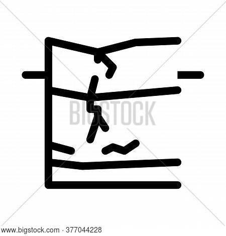 Cracked Foundation Icon Vector. Cracked Foundation Sign. Isolated Contour Symbol Illustration