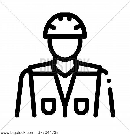 Builder Profession Icon Vector. Builder Profession Sign. Isolated Contour Symbol Illustration