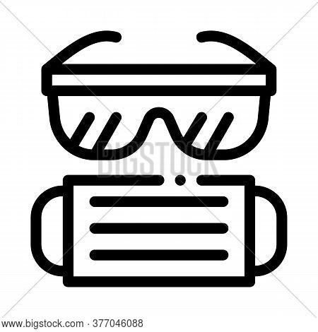 Surgeon Facial Mask And Glasses Icon Vector. Surgeon Facial Mask And Glasses Sign. Isolated Contour
