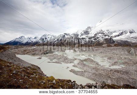 Glacier Near Gokyo In Himalaya Mountains