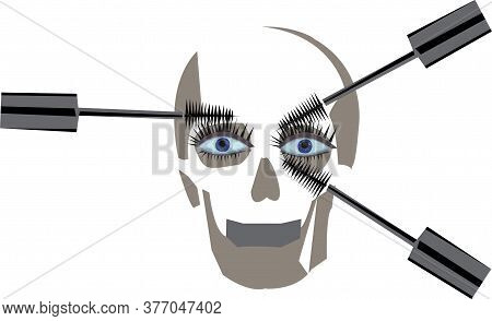 Creative Poster With An Image Of Mascara And A Skull
