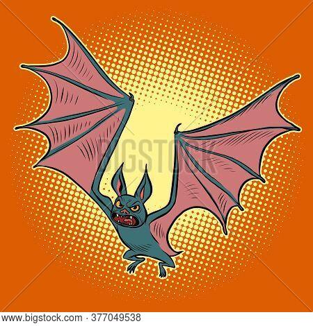 Evil Vampire Bat. Halloween Character. Comics Caricature Pop Art Retro Illustration Drawing