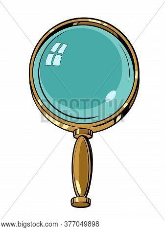 Magnifying Glass, Magnifier Lens Glasses Loupe. Comics Caricature Pop Art Retro Illustration Hand Dr