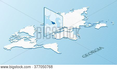 World Map In Isometric Style With Detailed Map Of Georgia. Light Blue Georgia Map With Abstract Worl