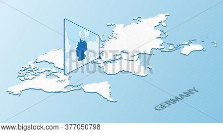 World Map In Isometric Style With Detailed Map Of Germany. Light Blue Germany Map With Abstract Worl