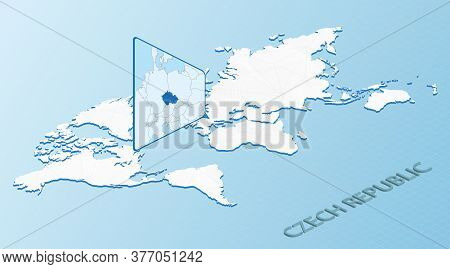 World Map In Isometric Style With Detailed Map Of Czech Republic. Light Blue Czech Republic Map With