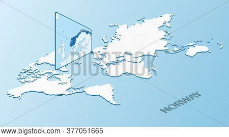 World Map In Isometric Style With Detailed Map Of Norway. Light Blue Norway Map With Abstract World