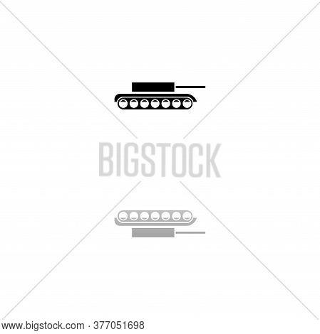 Tank. Black Symbol On White Background. Simple Illustration. Flat Vector Icon. Mirror Reflection Sha