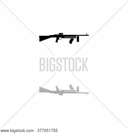 Automatic Rifle. Black Symbol On White Background. Simple Illustration. Flat Vector Icon. Mirror Ref