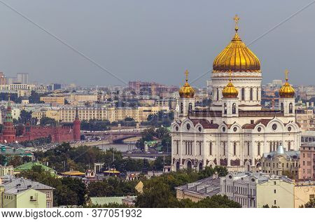 Telephoto Cityscape Of Moscow, Capital Of Russia, View From The Rooftop, Christ The Savior Cathedral