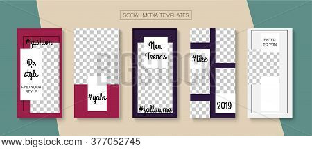 Modern Stories Vector Background. Blogger Funky Covers, Social Media Kit Template. Minimal Sale, New