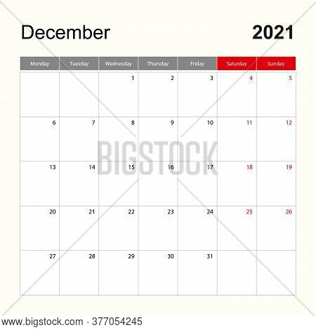 Wall Calendar Template For December 2021. Holiday And Event Planner, Week Starts On Monday. Vector T