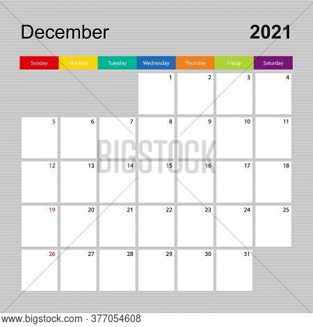 Сalendar Page For December 2021, Wall Planner With Colorful Design. Week Starts On Sunday. Vector Ca
