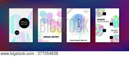 Holographic Gradient Vector Background. Rainbow Magazine Print Template. Pearlescent Gradient Overla