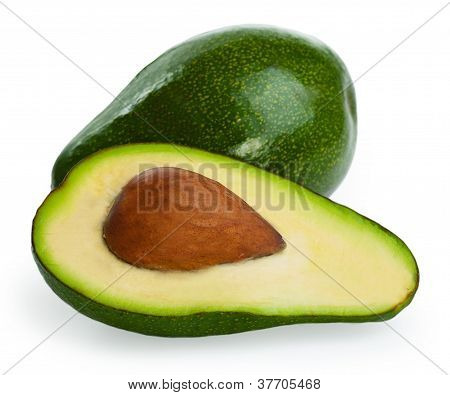 Avocados Isolated On A White Background