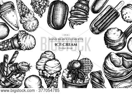 Design With Black And White Ice Cream Bowls, Ice Cream Bucket, Popsicle Ice Cream Stock Illustration