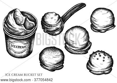 Vector Set Of Hand Drawn Black And White Ice Cream Bucket, Ice Cream Scoop, Ice Cream Balls Stock Il