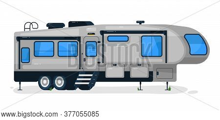 Big Camping Trailer. Isolated Camper Vehicle Mobile Home Transport With Door And Windows. Vector Rv