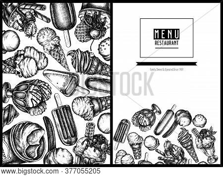 Menu Cover Design With Black And White Ice Cream Bowls, Ice Cream Bucket, Popsicle Ice Cream, Ice Cr
