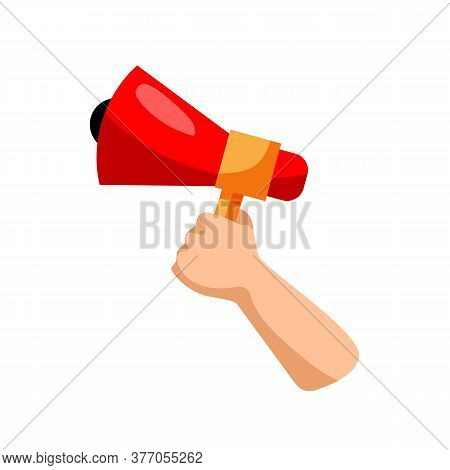 Hand With Megaphone. Isolated Hand Holding Megaphone Icon. Vector Loud Speaker. Announcing Business