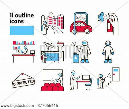 Mass Disinfection Color Line Icon. Cleaning Service. Worker In Protective Suit With Disinfector Spra