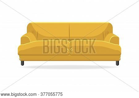 Classic Sofa. Isolated Comfortable Yellow Couch Seat Icon. Classic Style Living Room Sofa Front View