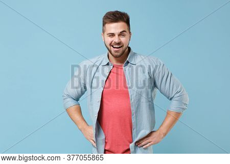 Cheerful Young Bearded Guy 20s In Casual Shirt Posing Isolated On Pastel Blue Background Studio Port