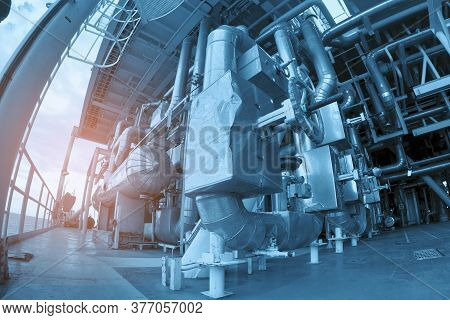 Oil & Gas Processing Piping Plant As Show Inside Of A Modern Industrial Power Plant For Business Ind