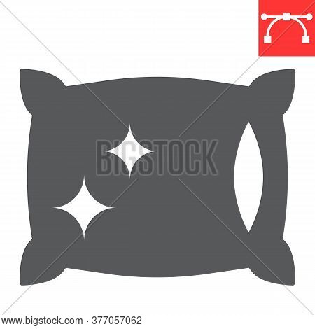 Pillow Cleaning Glyph Icon, Dry Cleaning And Laundry, Pillow Sign Vector Graphics, Editable Stroke S