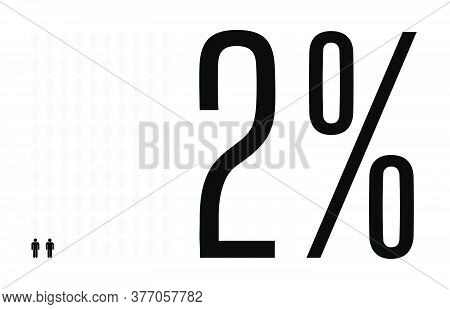 Two Percent People Graphic, 2 Percentage Diagram. Vector People Icon Chart Design For Web Ui Design.