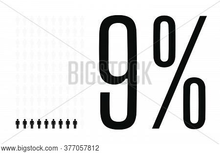 Nine Percent People Graphic, 9 Percentage Diagram. Vector People Icon Chart Design For Web Ui Design
