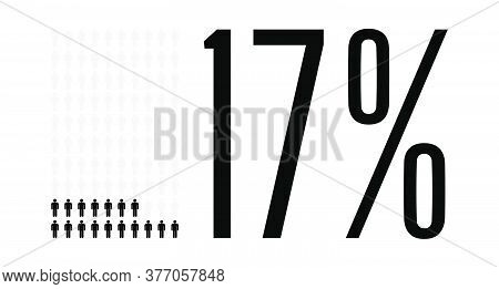 Seventeen Percent People Graphic, 17 Percentage Diagram. Vector People Icon Chart Design For Web Ui