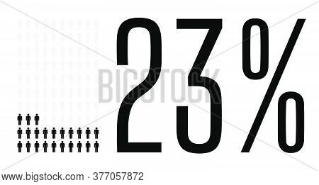 Twenty Three Percent People Graphic, 23 Percentage Diagram. Vector People Icon Chart Design For Web