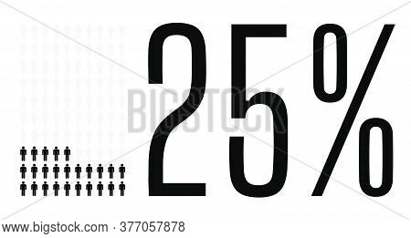 Twenty Five Percent People Graphic, 25 Percentage Diagram. Vector People Icon Chart Design For Web U