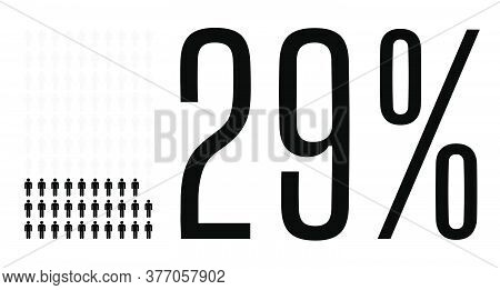 Twenty Nine Percent People Graphic, 29 Percentage Diagram. Vector People Icon Chart Design For Web U