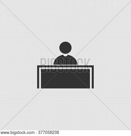 Tribune Icon Flat. Black Pictogram On Grey Background. Vector Illustration Symbol
