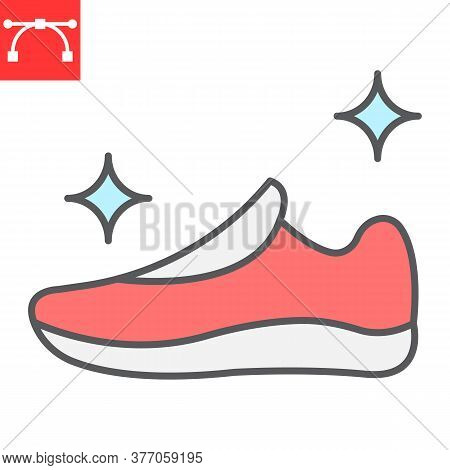 Shoe Cleaning Color Line Icon, Dry Cleaning And Wash, Run Shoes Sign Vector Graphics, Editable Strok