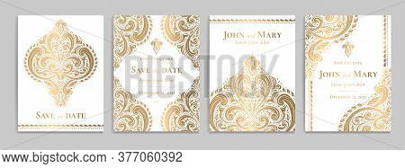 White Invitation Card With Luxury Gold Pattern Design On A Grey Background. Vintage Ornament Templat